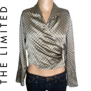 The Limited Silk Cropped Geometric Wrap Blouse